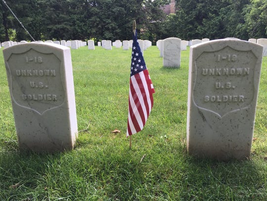 Grave markers in the Union cemetery, Soldiers Rest,