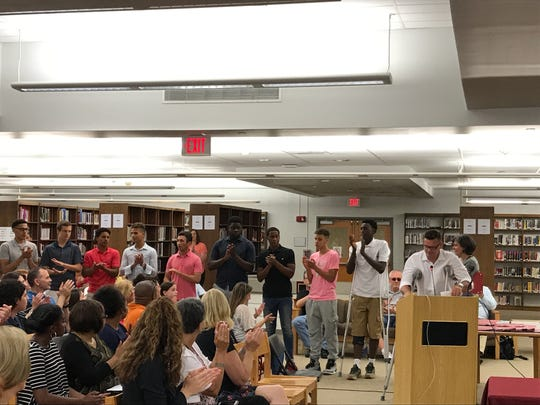 The Bloomfield Board of Education recognizes coach Pat Brunner and the Bloomfield High School boys basketball team on June 27, 2017.