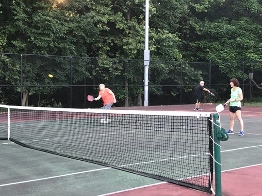 North Haledon residents play a game of pickleball on the tennis courts on Overlook Avenue.