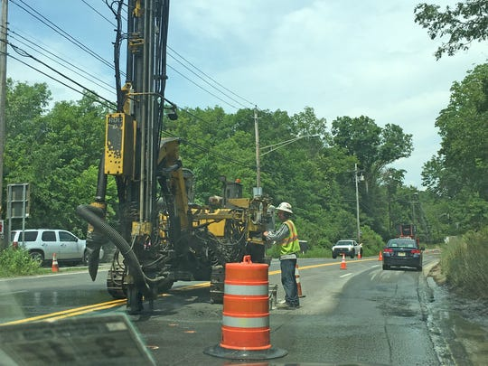 Construction crews work on the Western Ramapo Sewer