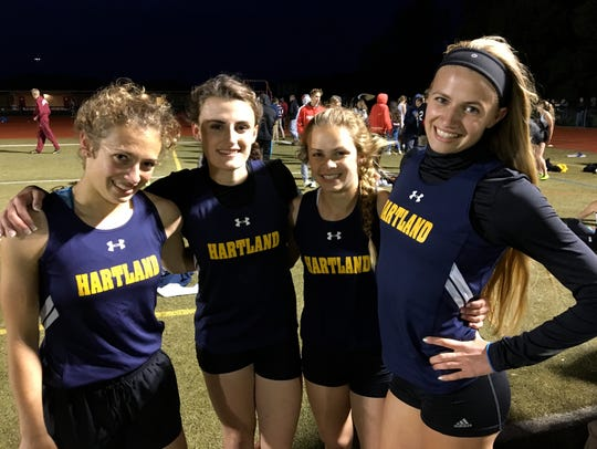 Hartland's 1,600 relay team of (from left) Michelle