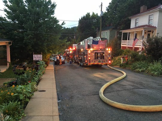 A fire in downtown Staunton Wednesday night on St.