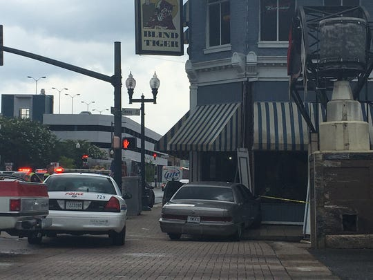 A car crashed into The Blind Tiger in downtown Shreveport Thursday afternoon.