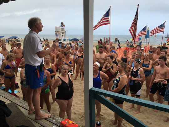 Ocean City Beach Patrol Capt. Butch Arbin addresses