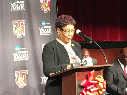 Tuskegee University interim president Dr. Charlotte Morris introduces Willie Slater as the school's athletic director.