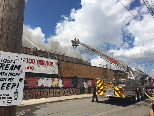 A warehouse caught fire in Detroit's Eastern Market