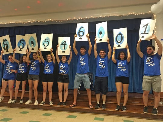 The Westfield High School Community Service Club completed a very busy year of service by holding a dance marathon fund-raiser for Children's Specialized Hospital on May 19, which raised more than $5,500 for the hospital. Unveiling the amount raised at the end of the dance marathon are (left to right) -Abby Jarecki, Ava Feldman, Clea Demuynck, Mackenzie Dulski, Emma Wolynez, Stephen Handzy, Jordan Binkowitz, Kayla Egberts, and Peter Morariu. In addition, service club members made several visits to Brighton Gardens Assisted Living in Mountainside. Service Club members also tutored elementary and intermediate school students in Westfield  and at the Saturday family center for refugee families, held at Temple Emanu-El. In addition, on three separate occasions, the Service Club made and delivered sandwiches to individuals in New York City and Newark through its work with Bridges Outreach, a Summit-based nonprofit.  Several other outreach efforts were conducted as well.