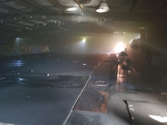 A fire at Blackman Middle School late Sunday night seriously damaged a small building used to hold wrestling equipment.
