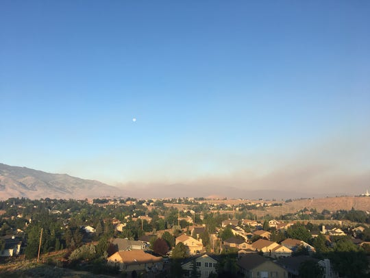 A Tuesday morning view of smoke from the Farad Fire