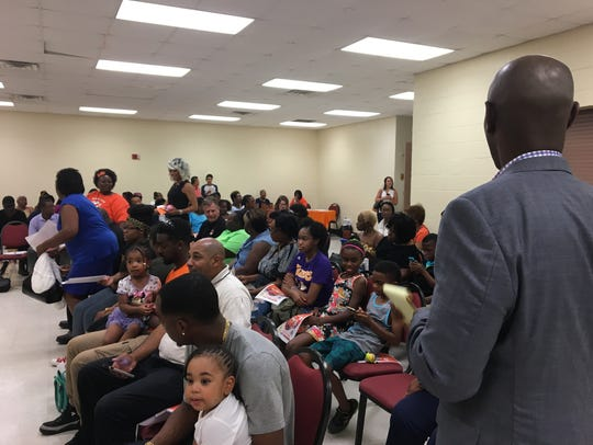 Former Superintendent of Shelby County Schools Dorsey Hopson surveys a room full of parents, grandparents and community members during a Memphis Lift event in 2017.