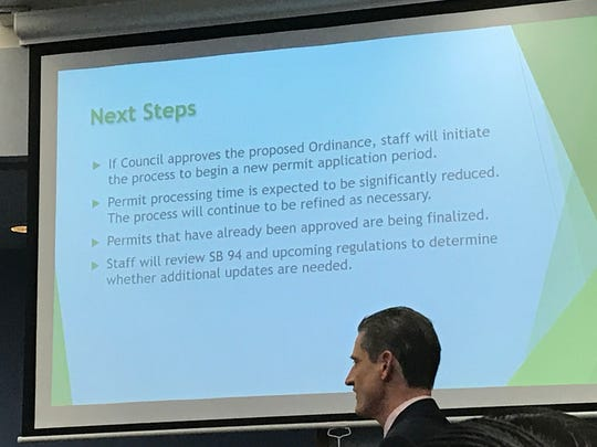 Andy Myrick the city's economic development manager made a presentation on proposed changes to the existing cannabis business ordinance