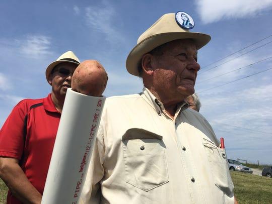Frank Nolen, former state senator, with a potato cannon