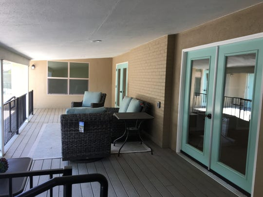 The communal patio area at Ruth's Open Arms.