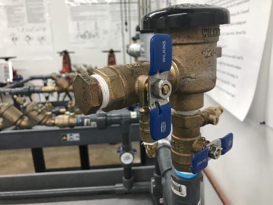 This is a testable backflow preventer now required in all buildings connected to the city water supply.