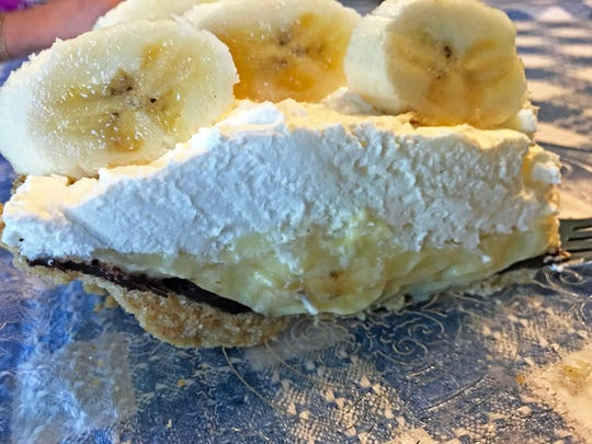 Banana Cream Pie with a surprise layer of dark chocolate and a vanilla wafer crust