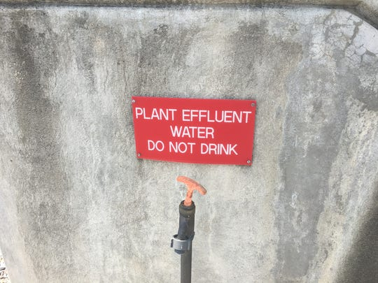 A sign at the Middle River Wastewater Treatment Plant.
