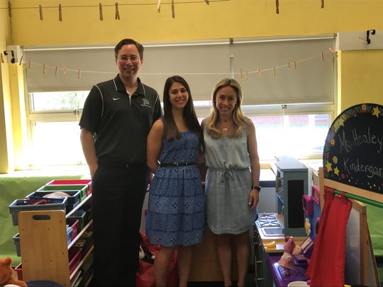 Assistant Principal Ross Herbert, teacher Trista Gaspari and Principal Jessica Nitzberg stand in the pre-k room, which is being remodeled over the summer to get ready for the new pre-k starting in September.