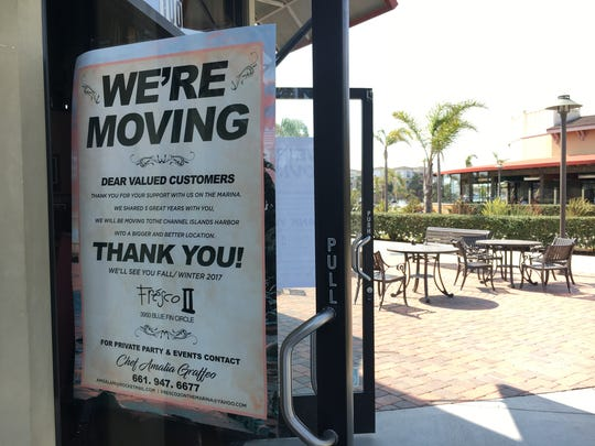 """We're moving"" signs at Fresco II on the Marina in Oxnard's Seabridge Marina Center announce plans to reopen at 3950 Bluefin Circle in the Channel Islands Harbor. The address is that of the vacant Whale's Tail building."