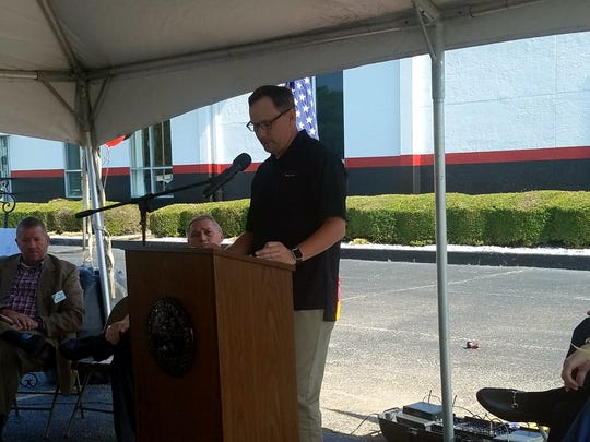 Plant Manager Steve Moser speaks at the Bongards' Creameries expansion announcement celebration on July 18, 2017.
