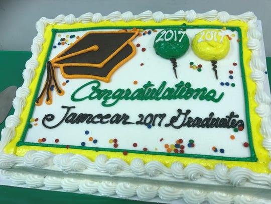 A cake honoring the civic association's graduates.