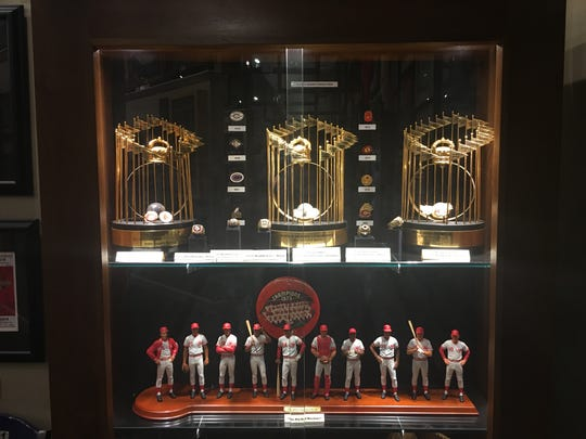 The Reds are heavily featured as the hometown team at the Green Diamond Gallery in Montgomery, Ohio, and includes the replica trophy that then-owner Marge Schott received after the Reds won the World Series in 1990.