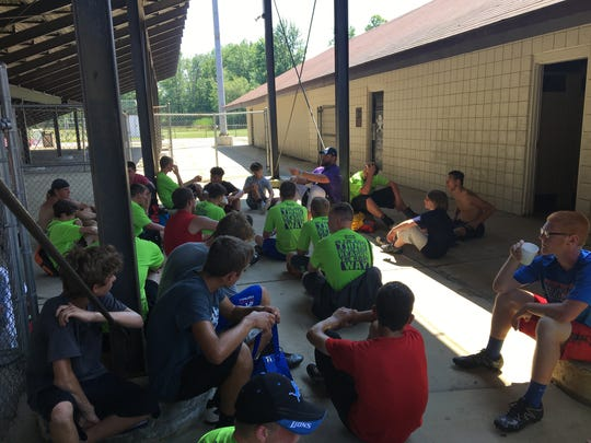 Tim Lelito talks to campers at the end of the two-day