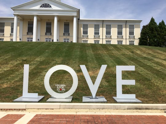 A Virginia Is for Lovers LOVE sign is displayed at Mary Baldwin University in Staunton, Va.