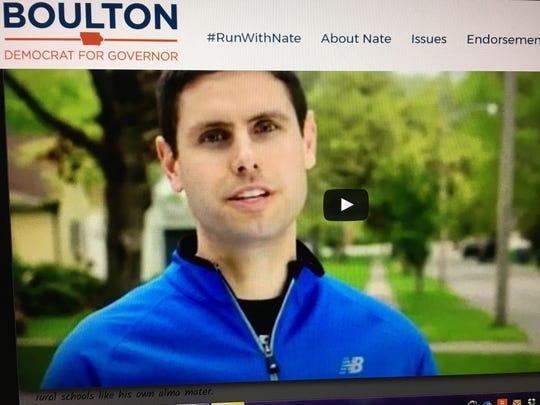 Democratic gubernatorial candidate Nate Boulton's website features his campaign announcement video.
