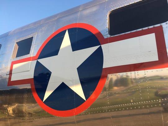 "The ""Miss Hap,"" a World War II-era B-25 bomber, stopped"
