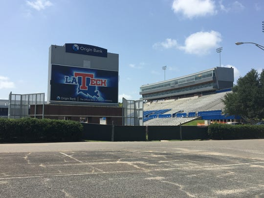 A view of Louisiana Tech's new press box and executive suites from outside the east end zone.