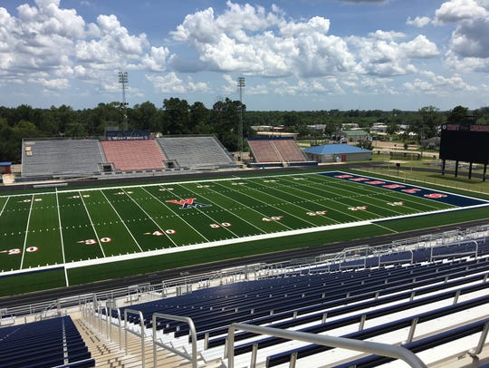 A look at the new artificial turf at Don Shows Field