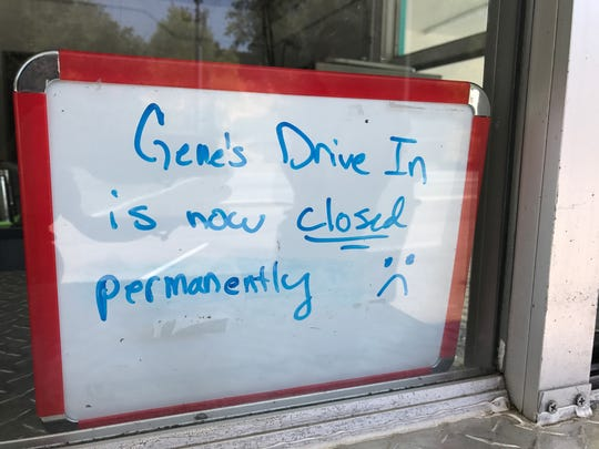 A whiteboard announces the closure of Gene's Drive-In in Redding.