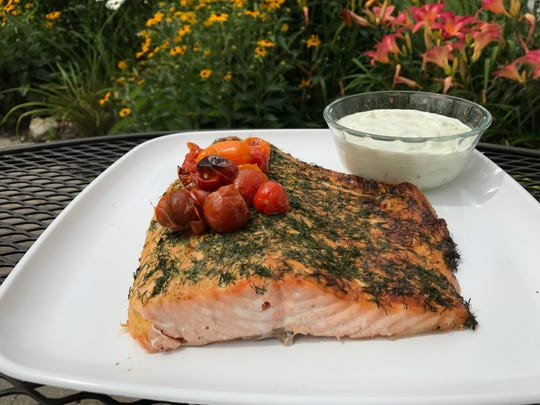 How to cook salmon: Dijon and dill broiled salmon with cucumber yogurt sauce