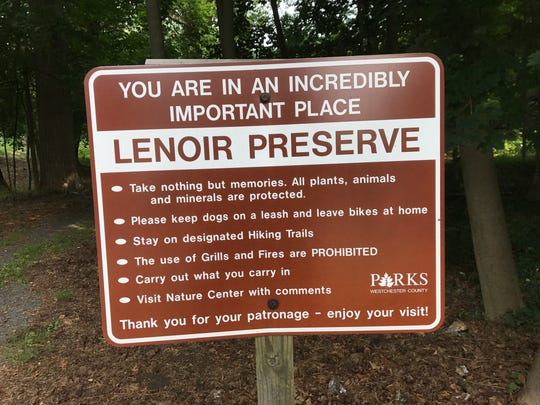 A sign at the Lenoir Preserve in Yonkers.