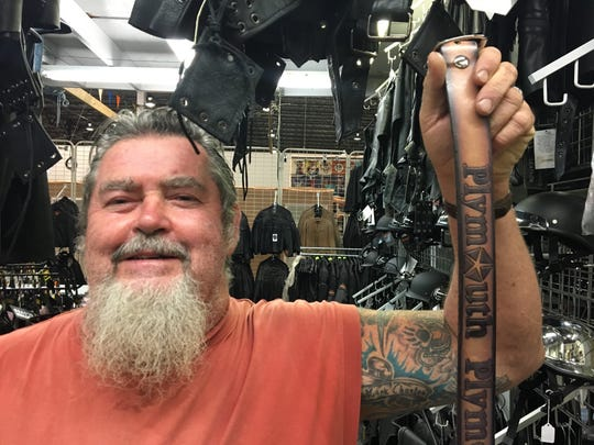 Steve Jones, 60, of Capac, drove 50 miles to buy a belt from Shardan's Leather Goods on Friday, July 28, 2017 at Gibraltar Trade Center in Mt. Clemens.