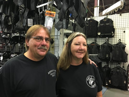 Shardan's Leather Goods co-owners Dan and Sharon Trantham are pictured July 28, 2017 at their store in the Gibraltar Trade Center in Mt. Clemens.