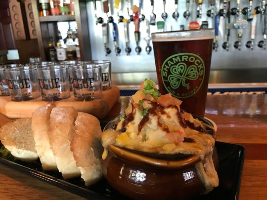 Shamrocks Gastropub serves its traditional Shepherd's Pie with freshly-baked bread and Michelob AmberBock on tap, on August 1, 2017.