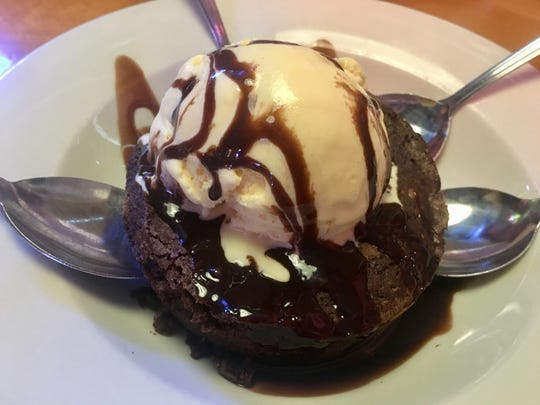 A brownie ($5.99) comes topped with a vanilla scoop