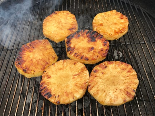 Spice-grilled pineapple has the warm spices of cinnamon,