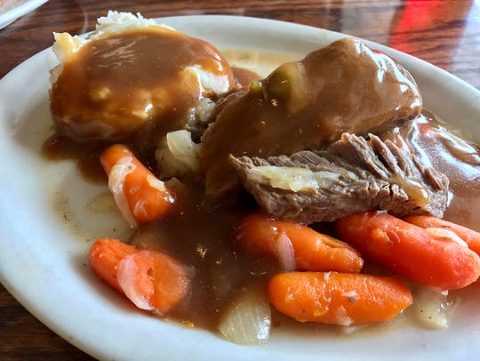 Pot roast with mashed potatoes and carrots from Haney's