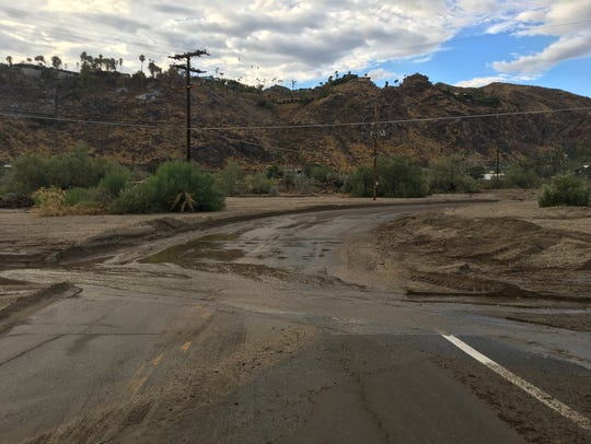 Araby Drive in Palm Springs floods after Thursday morning
