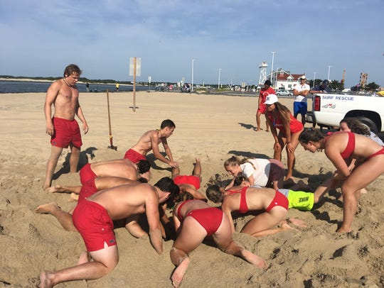 The Ocean City Beach Patrol practices rescue techniques