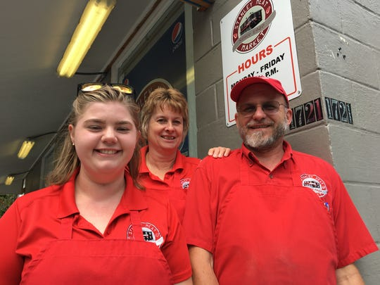 From left to right: Julia Holsinger, Sherry Lantz and Chuck Ware-Rinaca, owner of Stanley Meat Market. Ware Rinaca said he recently purchased Pat's Farm Market just across the street from the meat market. It will serve as a produce stand for the company.