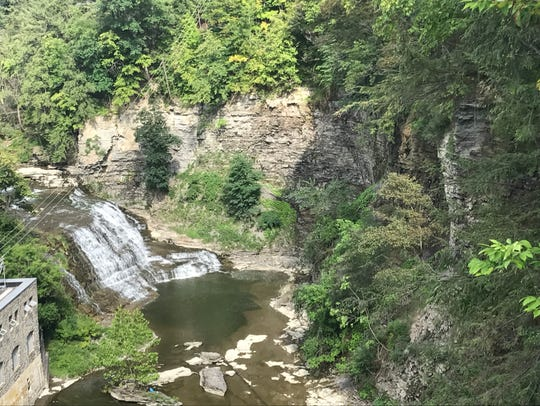 A view of the Fall Creek gorge from the pedestrian