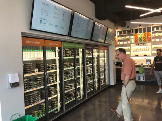 The display case of packaged meals at Eat Fit Go. Eat