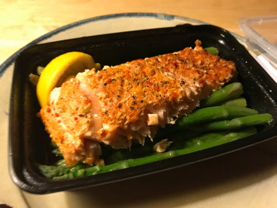 Lemon and herb salmon dish with asparagus from Eat