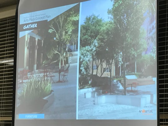 Examples of tables, chairs and benches that will go in the public plaza are presented at Monday's Planning Board meeting.