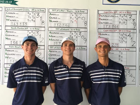 Peter George, Sam Nunner and Matt Ariza of The First Tee of Naples/Collier finished third in the Boys 16-18 Division at the Florida Junior Team Championship on Aug. 6, 2017 in Venice.