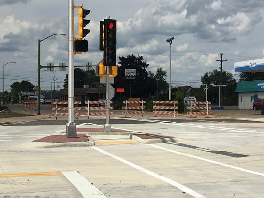 Traffic signals are tested before the intersection