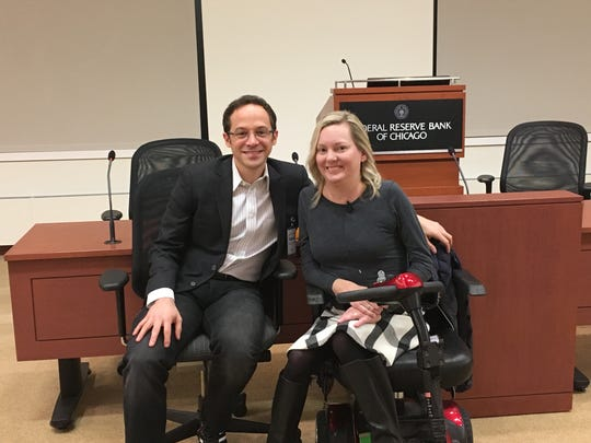 """Jill Viles with writer David Epstein, who connected her to an Olympic athlete and told their story on National Public Radio's """"This American Life."""""""